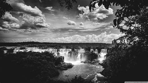 iguazu falls black  white  hd desktop wallpaper