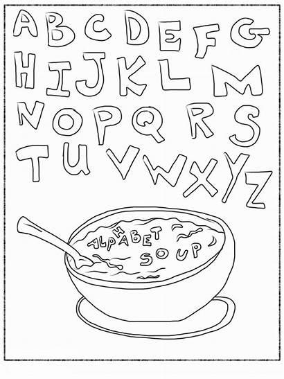 Alphabet Coloring Soup Abc Printable Letter Pages