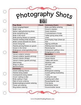 printable wedding checklist timeline photography
