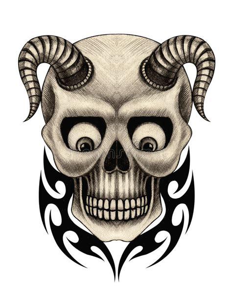 art devil skull tatto stock illustration illustration