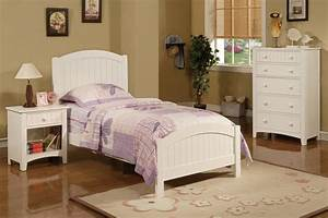 3pc bedroom set twin size cottage style pottery white bed With cottage style twin beds
