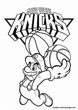 Coloring Pages Knicks York Nba Mario Spongebob Super Basketball Browser Window Playing Maatjes sketch template