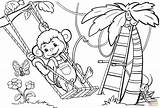 Monkey Coloring Tree Swinging Pages Drawing Monkeys Printable Trees Animals Awesome Puzzle Under Through Getdrawings Paper sketch template