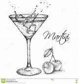 Cocktail Martini Glass Illustration Drawn Hand Vector Cherry Preview sketch template
