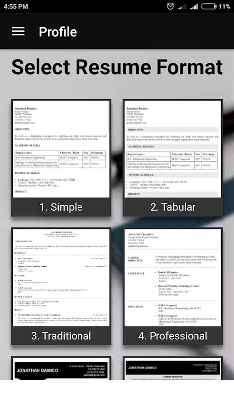 resume builder  formats cv maker templates android