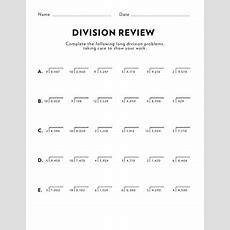 Math Review Multidigit Division  Worksheet Educationcom
