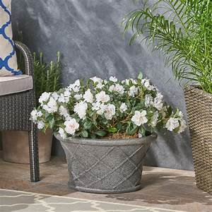 Ibrahim, Outdoor, Lattice, Patterned, Light, Weight, Concrete, Garden, Urn, Planter, With, Lipped, Edge