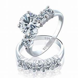 925 Sterling Silver Round CZ Engagement Wedding Ring Set