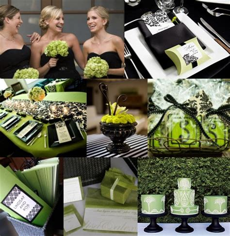 black white and green weddings by the color