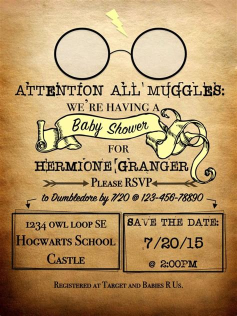 Harry Potter Baby Shower Invitations - personalized harry potter theme invitation attention all