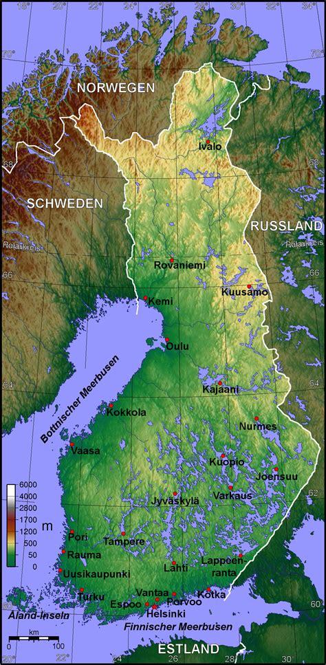 landkarte finnland topographische karte weltkartecom