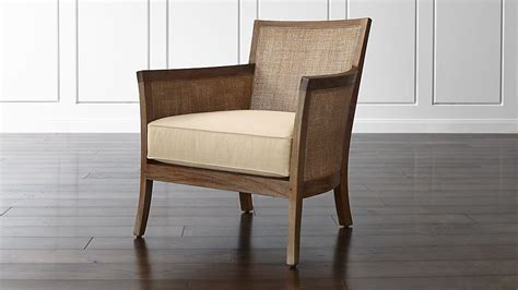 rattan arm chair with fabric cushion crate and barrel
