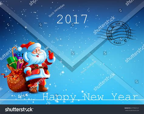 envelope letter santa claus happy  stock vector
