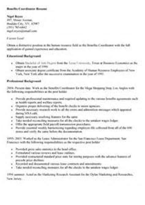 Benefits Coordinator Resume by Benefits Coordinator Resume Sle Resume Resume