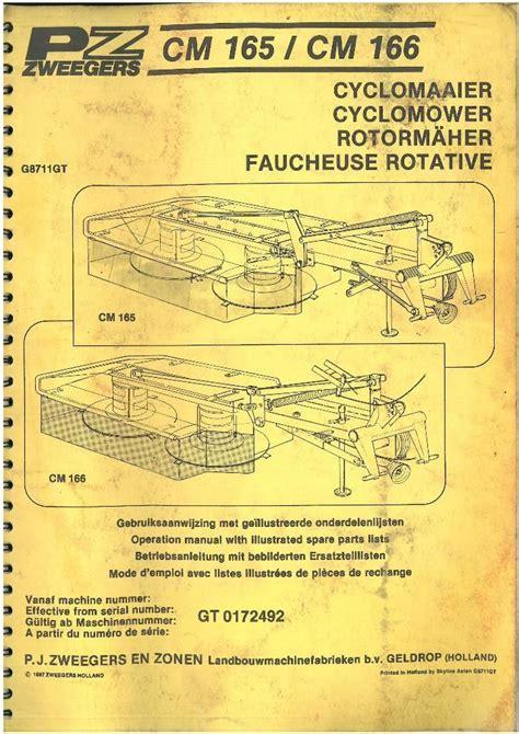 pz zweegers mower cyclomower cm165 cm166 operators manual with parts list cm 165 166