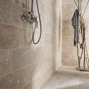 Carrelages Salle De Bain : pierre naturelle sol et mur ivoire travertin x ~ Melissatoandfro.com Idées de Décoration