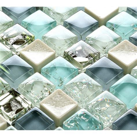 Blue Ice Crack Glass Tile Mosaic Sheets Beige Crackle
