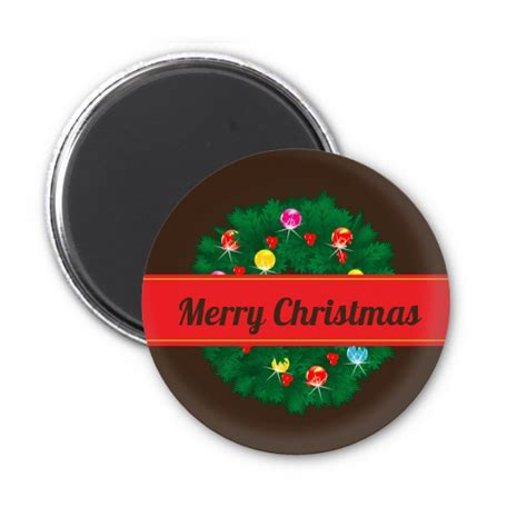 christmas wreath and bells personalized christmas magnet