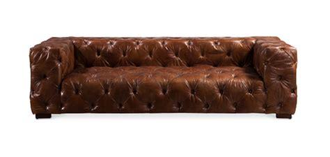 canapé matelassé style vintage 3 places en cuir marron pas