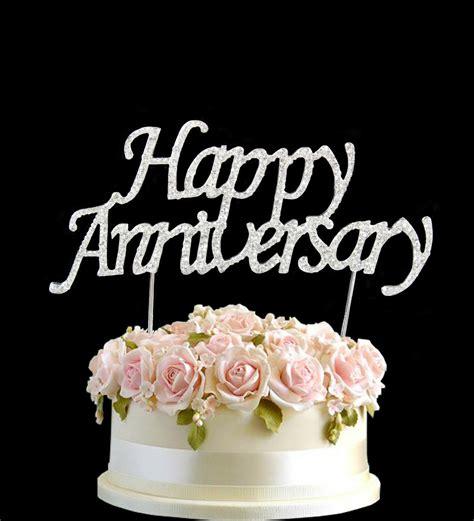 diamante rhinestone gem cake pick topper happy anniversary