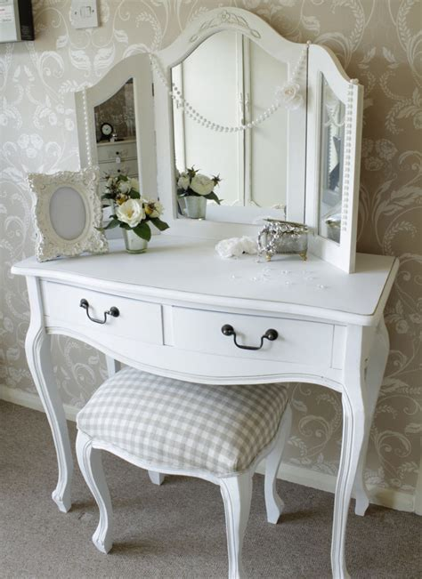 shabby chic table mirror dressing table mirror stool shabby french style vintage chic white bedroom set ebay