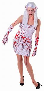 Ladies Bloody Dress Halloween Outfit - One Size (White)