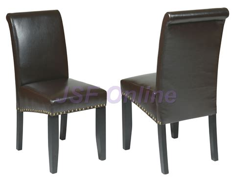 espresso eco leather parsons dining chairs w nail head