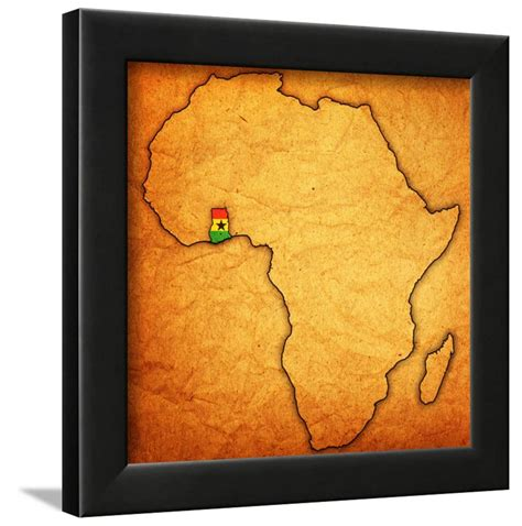 Simple way to diy pertaining to africa map wall art view photo 8 of 20. Ghana on Actual Map of Africa Framed Print Wall Art By ...