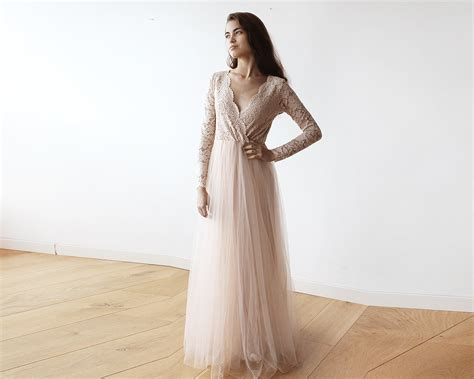 Blush Pink Tulle And Lace Long Sleeves Gown