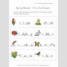 Spring Words  Fill In The Vowels Worksheet  Spring  Worksheets For Kids, Vowel Worksheets