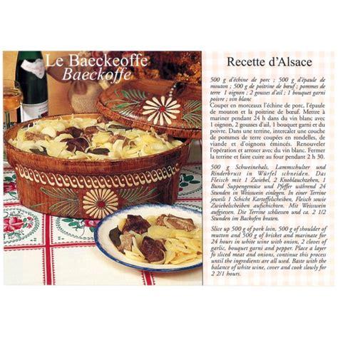recettes de cuisine anciennes carte postale recette alsacienne quot le baeckeoffe