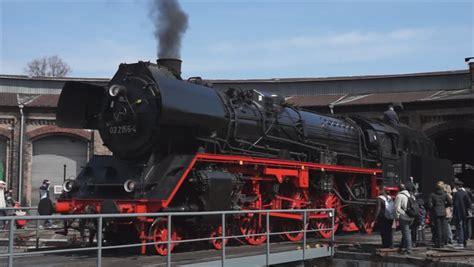 berlin april 21 steam locomotive borsig 03 2155 4 drg class 03 the railway turntable