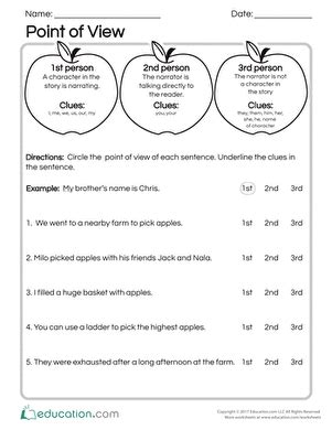 1st and 3rd person point of view worksheets kidz activities