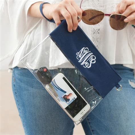 clear purse monogram designer greek apparel