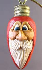 christmas light ornament santa wood carving