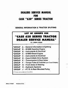 Case 630 Series Tractors Repair Service Manual Pdf
