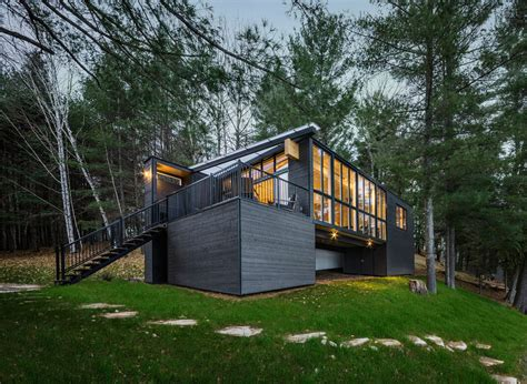 beautiful prefab cabin  quebec    wood panels