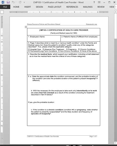 health care provider certification approval template