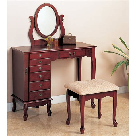 furniture vanity shop coaster furniture cherry makeup vanity at lowes
