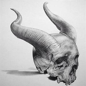 Human Skull With Horns Drawing