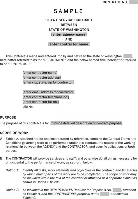sample client service contract template templates