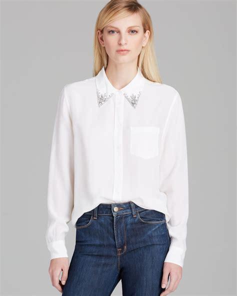 silk white blouse equipment blouse reese collar silk in white bright