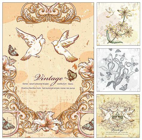doves  flowers wedding invitation card vector