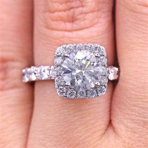 dazzling cut with square halo engagement ring tradesy