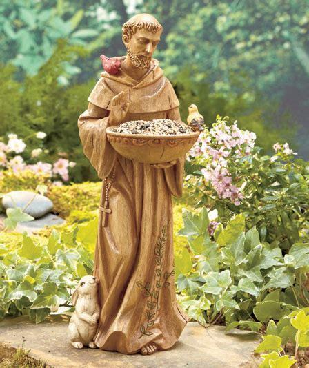 saint st francis  assisi ceramic bird animal feeder