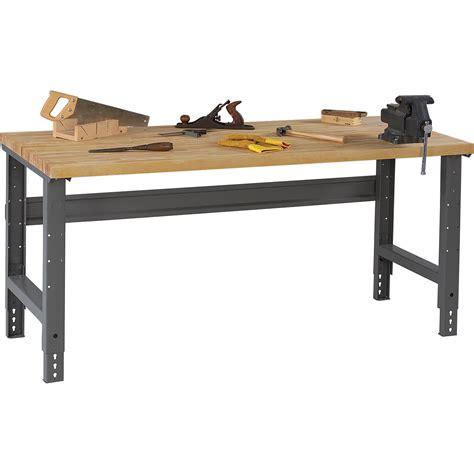 tennsco adjustable workbench wood top inw  ind
