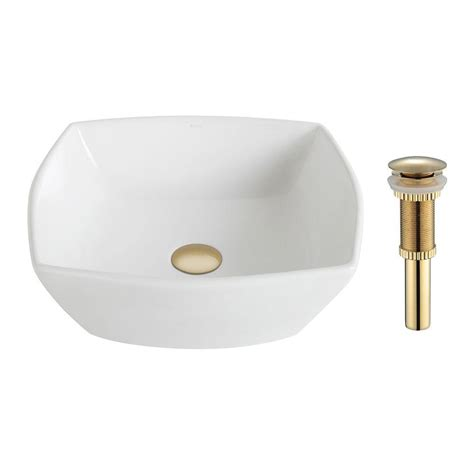 Square Bathroom Sinks Home Depot by Kraus Rectangular Ceramic Vessel Bathroom Sink In White