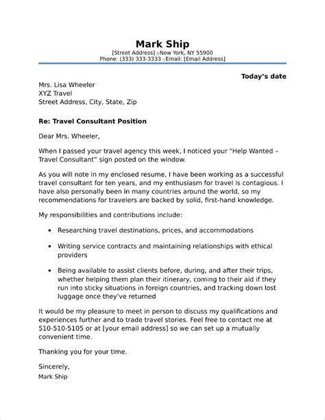 travel consultant cover letter sample