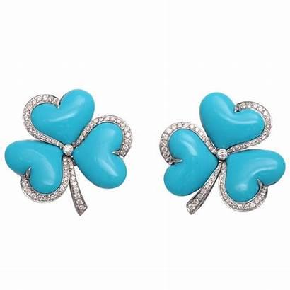 Earrings Turquoise Diamond Clover Gold Impressive Jewelry
