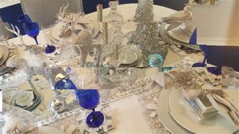 christmas table scape winter wonderland  dollar tree